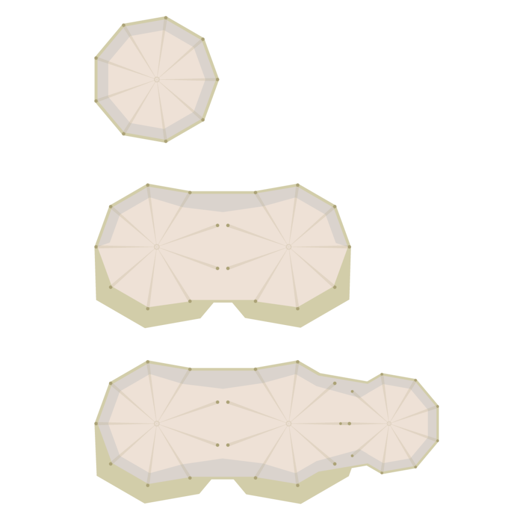Plan displaying different sizes and formation of tipis