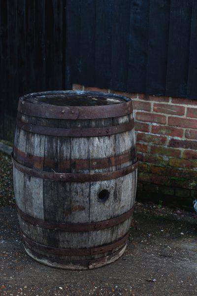 Aged oak whisky barrel
