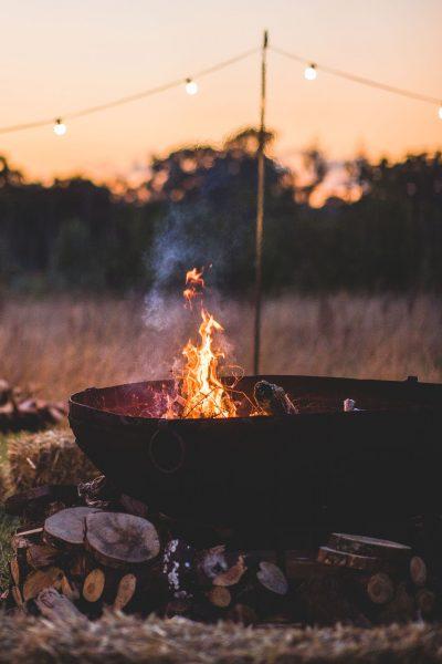 Fire Bowl on dusk evening