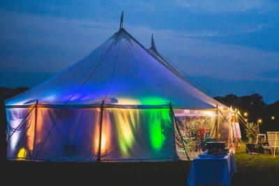 Sailcloth tent at night